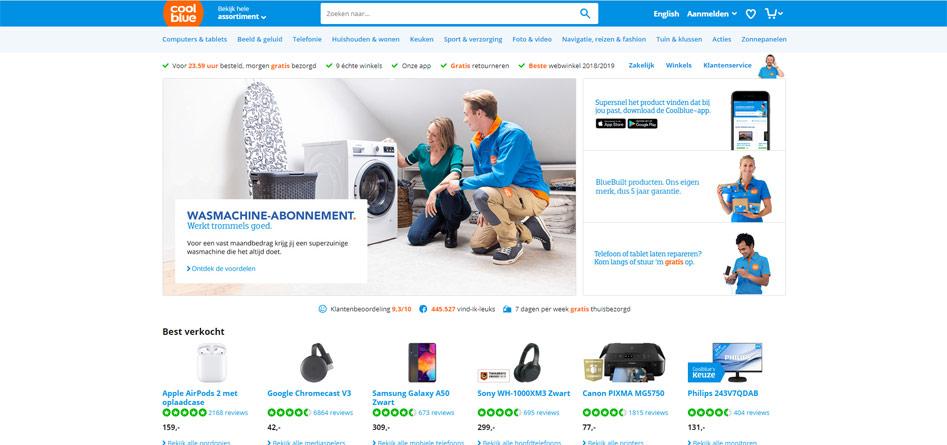 Voorbeeld Storytelling website Coolblue